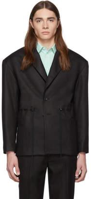 Eckhaus Latta Black Gloss Drawcord Blazer