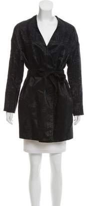 Lela Rose Metallic Knee-Length Coat