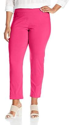 SLIM-SATION Women's Plus-Size Wide Band Pull On Ankle Pant with Tummy Control, 14W