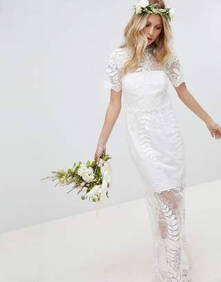 Asos Edition EDITION Corded Lace Maxi Wedding Dress with Scallop Hem