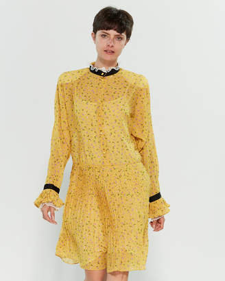 Philosophy di Lorenzo Serafini Yellow Floral Pleated Drop Waist Dress