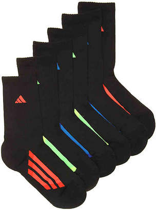 adidas Cushioned Stain Resistant Youth Crew Socks - 6 Pack - Boy's