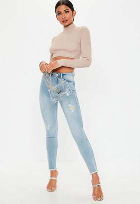 Missguided Light Blue Denim Authentic Distressed Skinny Jeans