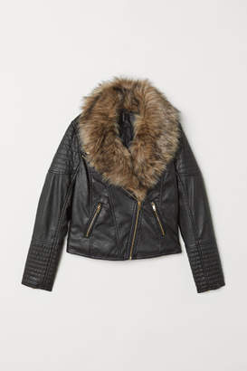 H&M Faux Fur-collar Biker Jacket - Black