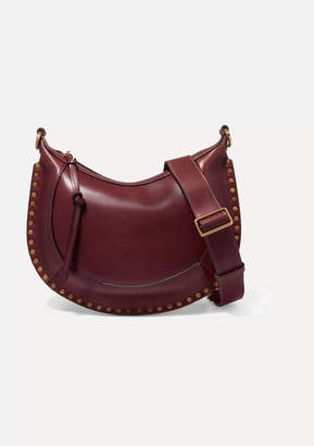 Isabel Marant Naoko Studded Leather Shoulder Bag - Burgundy