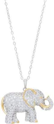 Diamonique TOVA for Elephant Pendant w/Chain Sterling