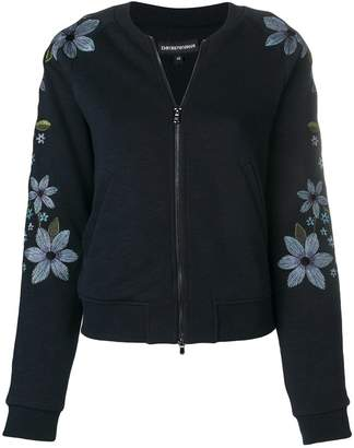 Emporio Armani floral embroidered bomber jacket