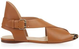 Francesco Russo Peep-toe calf-hair and leather sandals
