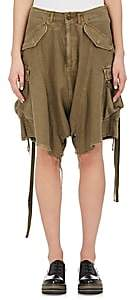 R 13 Women's Distressed Cotton Drop-Rise Cargo Shorts - Dk. Green