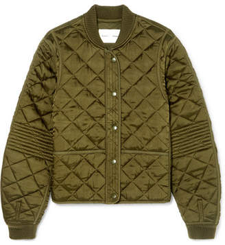 Proenza Schouler Pswl Quilted Satin Bomber Jacket - Army green