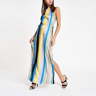 River Island Blue stripe tie waist maxi dress