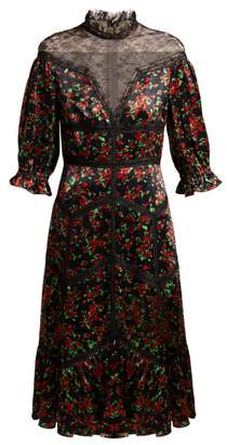 Valentino Panelled Floral Print Satin Dress - Womens - Black Multi