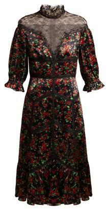 Valentino Panelled Floral Print Satin Dress - Womens - Black Multi