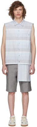 House of the Very Islands Blue Broad Stripe Sleeveless Button-Up Shirt