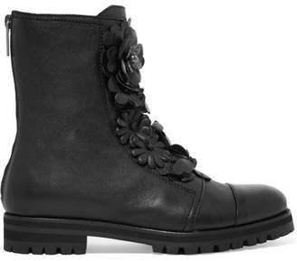 Jimmy Choo Havana Embellished Appliquéd Textured-leather Boots - Black