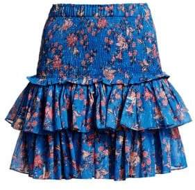 Etoile Isabel Marant Naomi Floral Smocked Ruffled A-Line Skirt