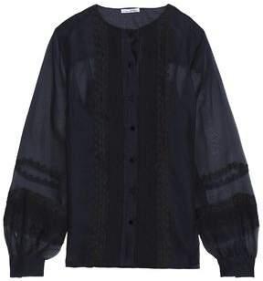 Oscar de la Renta Lace-Trimmed Silk-Organza Shirt