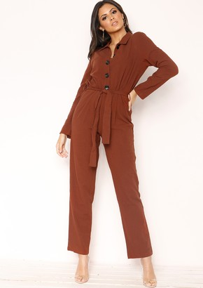 cd817708f46b Missy Empire Missyempire Linda Brown Button Belted Jumpsuit