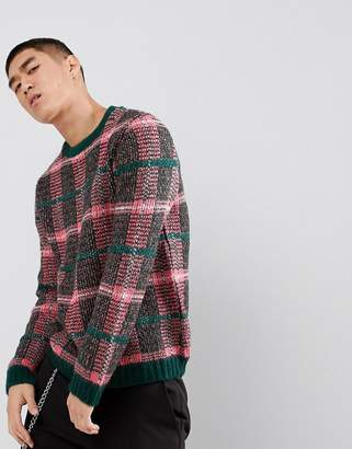 Asos Fluffy Check Sweater In Pink And Green