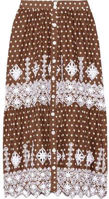 Miguelina - Carolina Polka-dot Broderie Anglaise Cotton Midi Skirt - Chocolate $390 thestylecure.com
