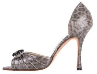 Manolo Blahnik Suede Slide Sandals