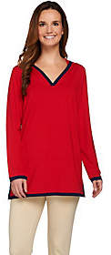 Susan Graver Dolce Knit Long Sleeve HoodedPullover Tunic