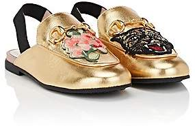 Gucci Kids' Princetown Leather Slingback Slippers - Gold
