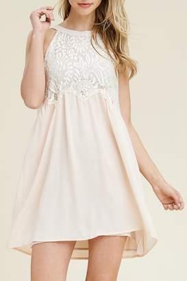 Riah Fashion High-Neck Lace Dress