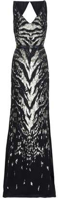 Roberto Cavalli Open-back Embellished Silk-georgette Gown
