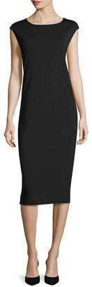 Joan Vass Cap-Sleeve Ponte Knee-Length Dress, Black