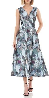 Kay Unger Sleeveless Metallic Jacquard A-Line Cocktail Dress
