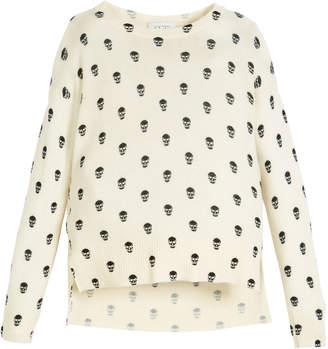 Autumn Cashmere Long-Sleeve Skull-Print Sweater, Size 8-16
