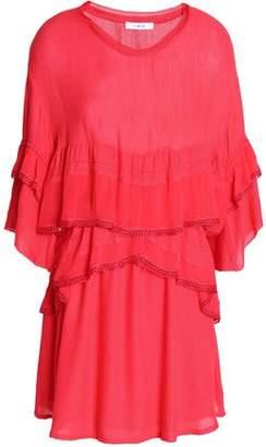 IRO Tiered Chiffon-Paneled Crepe De Chine Peplum Mini Dress