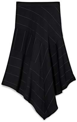 Vince Camuto Chalk-stripe Asymmetric Skirt