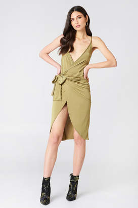 boohoo Strappy Knot Wrap Dress Khaki