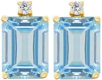 14K Emerald-Cut 2.50 cttw Aquamarine & Diamond Earrings