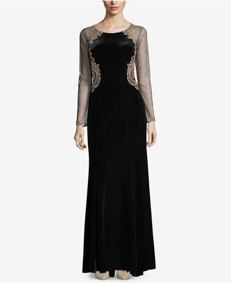 Xscape Evenings Velvet Illusion Gown
