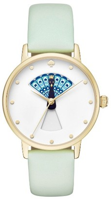 Women's Kate Spade New York Metro Peacock Leather Strap Watch, 34Mm $195 thestylecure.com