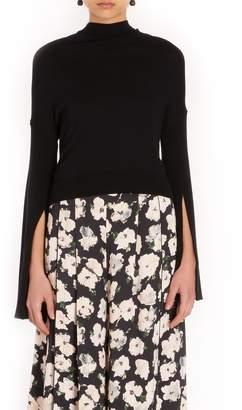 Adeam Tie Back Slit Knit Sweater in Black
