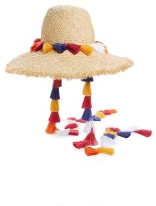 Women's Kate Spade New York Tassel Backpack Sun Hat - Beige $168 thestylecure.com