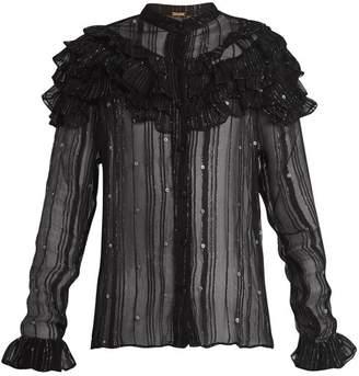 Dodo Bar Or - Suzie Ruffle Trimmed Sheer Striped Chiffon Blouse - Womens - Black Silver