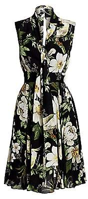 Carolina Herrera Women's Sleeveless Floral Overlay Dress