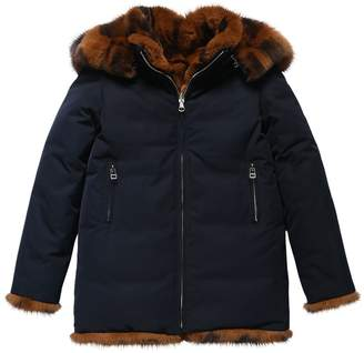 Yves Salomon Enfant REVERSIBLE NYLON & FUR COAT