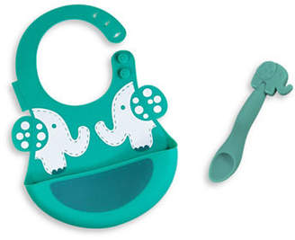 Marcus Collection & Ollie the Elephant Silicone Baby Bib and Feeding Spoon Set