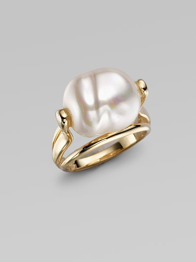 Majorica 16MM White Baroque Pearl Ring