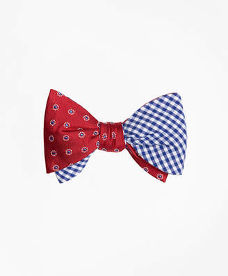 Brooks Brothers Framed Polka Dot with Gingham Reversible Bow Tie