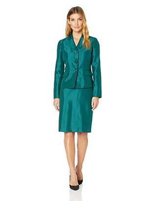 Le Suit Women's 3 Button Wide Lapel Shiny Skirt Suit