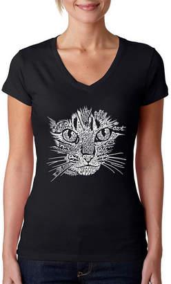 LOS ANGELES POP ART Los Angeles Pop Art Women's V-Neck T-Shirt - Cat Face
