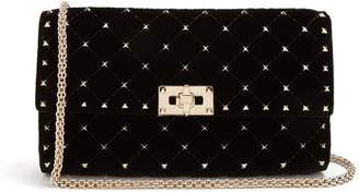 Valentino Rockstud Spike Quilted Velvet Clutch - Womens - Black