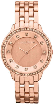Liz Claiborne Womens Rose-Tone Watch with Crystals